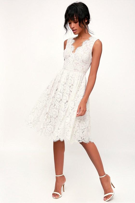 60s Wedding Dresses | 70s Wedding Dresses Love Swept White Lace Midi Skater Dress - Lulus $98.00 AT vintagedancer.com