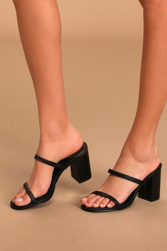 Trendy Black Sandals - High Heel