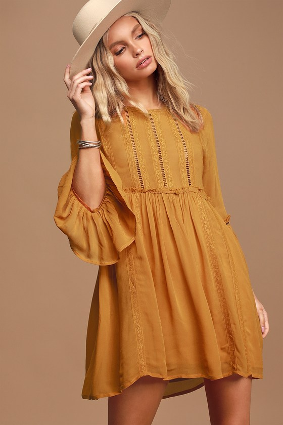 In the Meadows Mustard Yellow Crochet Lace Babydoll Dress
