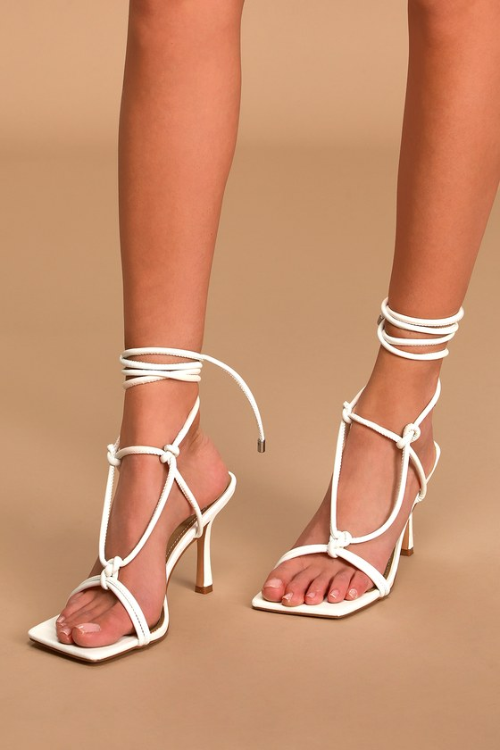 White High Heel Sandals - Cute Lace-Up