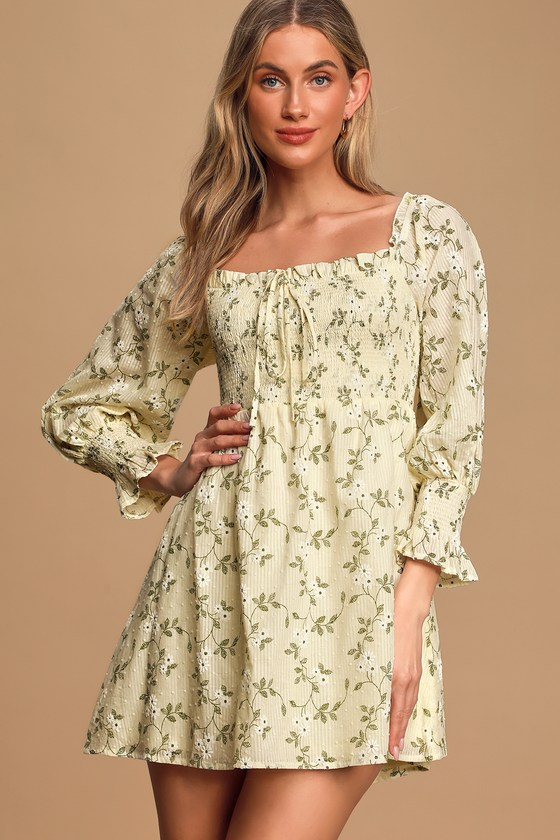 Doting Over You Light Yellow Floral Print Smocked Mini Dress