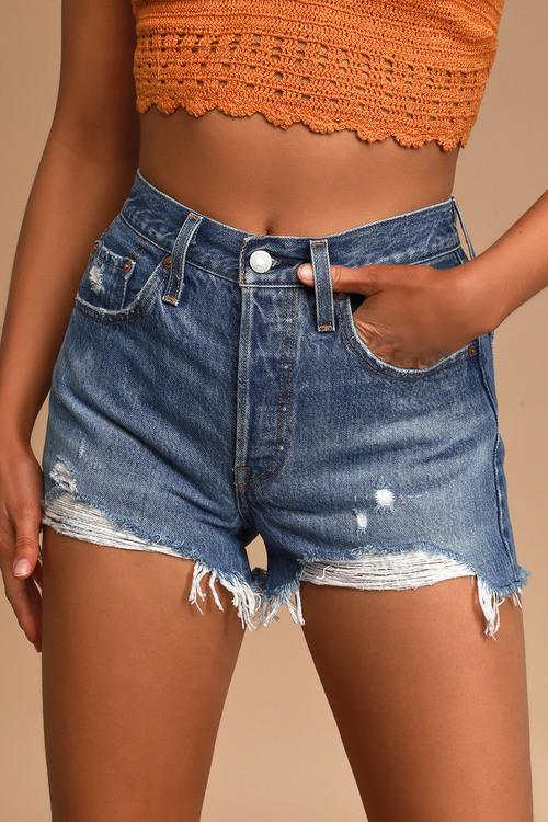 Levi's 501 Original High Rise Medium Wash Distressed Denim Shorts