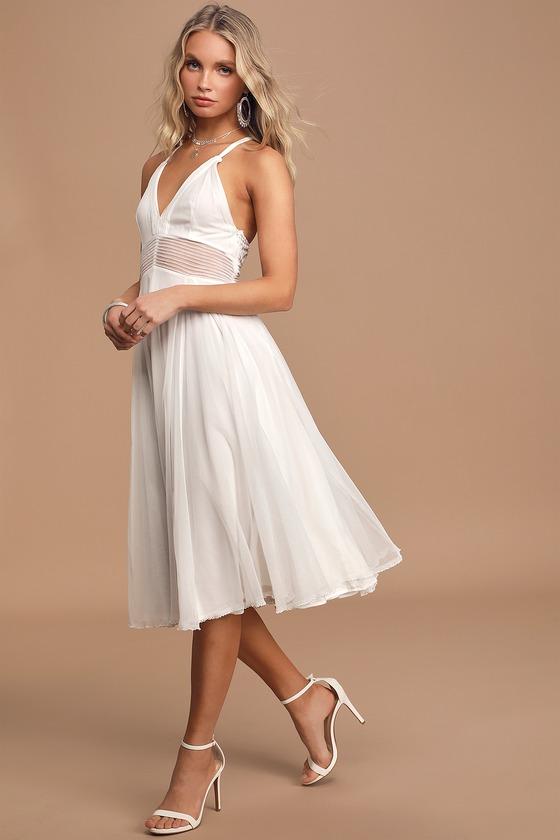 Walking on Air White Tulle Sleeveless Midi Dress