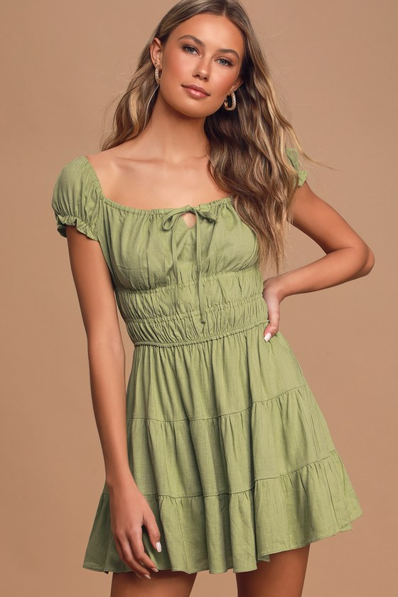 Good As New Pistachio Green Cap Sleeve Tiered Mini Dress