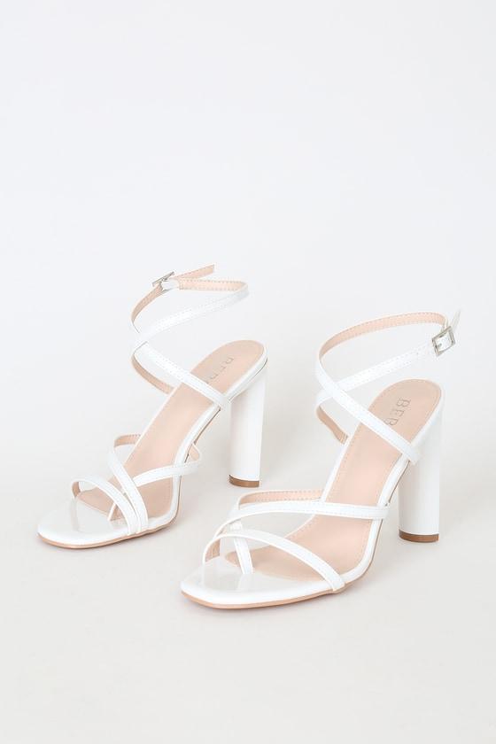 White Patent Heels - Vegan Leather