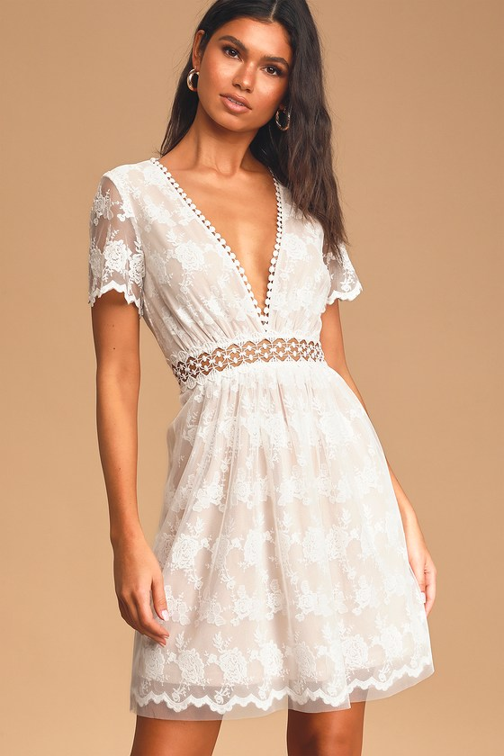 mini white lace dress