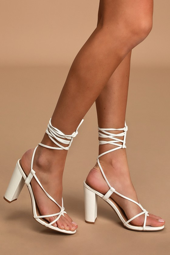Heels - Lace-Up Heels - Toe-Thong Heels