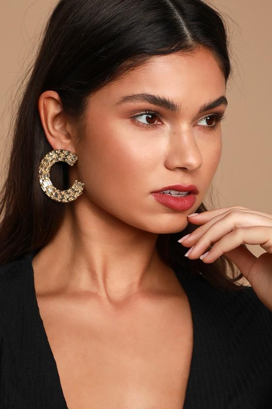 Gold Earrings - Glam Earrings - Baguette Rhinestone Earring