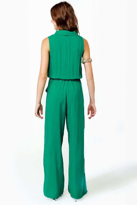 Long Time No Sleeve Green Jumpsuit at Lulus.com!
