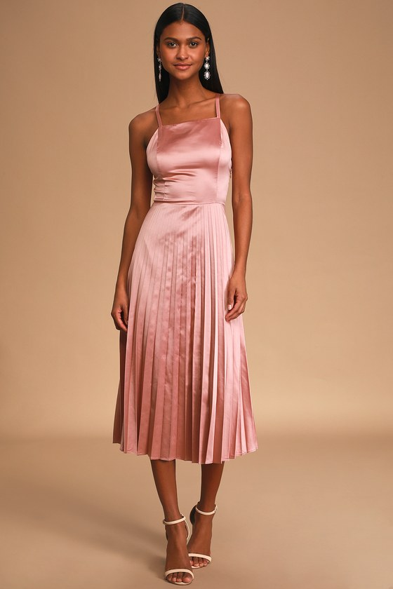 70s Prom, Formal, Evening, Party Dresses Give us a Twirl Rose Pink Satin Pleated Midi Dress - Lulus $49.00 AT vintagedancer.com