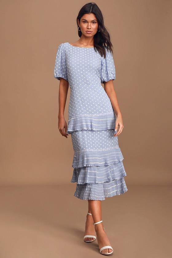 Fleur 'Em In Light Blue Tiered Embroidered Midi Dress