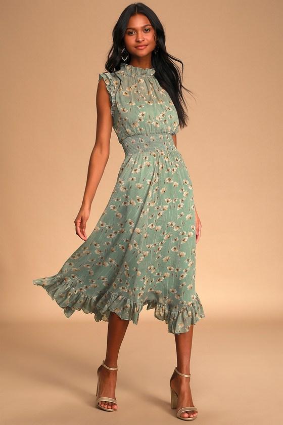 Wild Whims Sage Green Floral Print Mock Neck Midi Dress