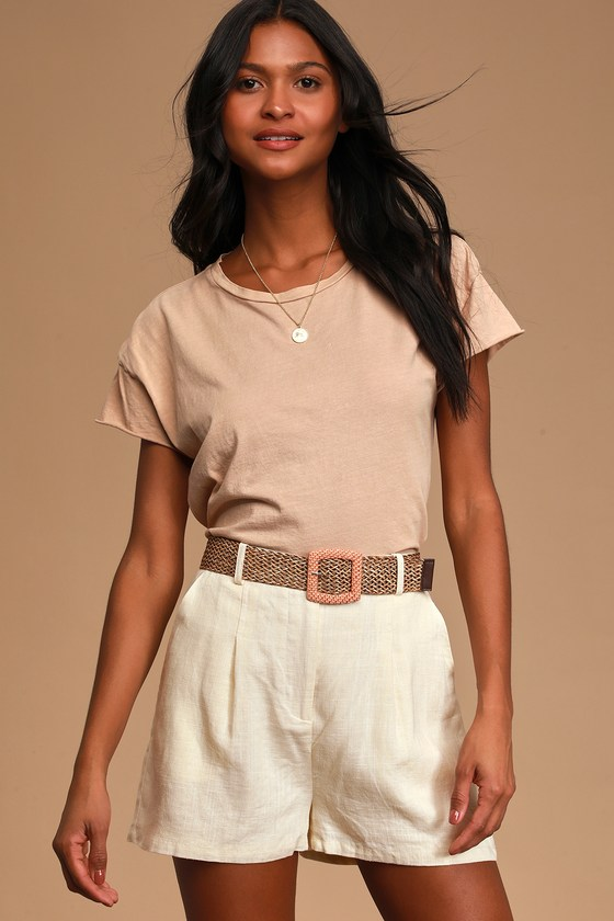 Cheery Disposition Cream Belted Linen Shorts