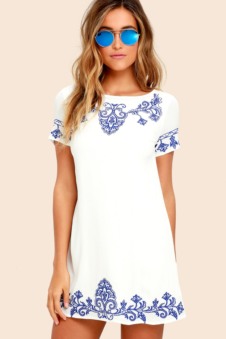 Tale to Tell Blue and Ivory Embroidered Shift Dress