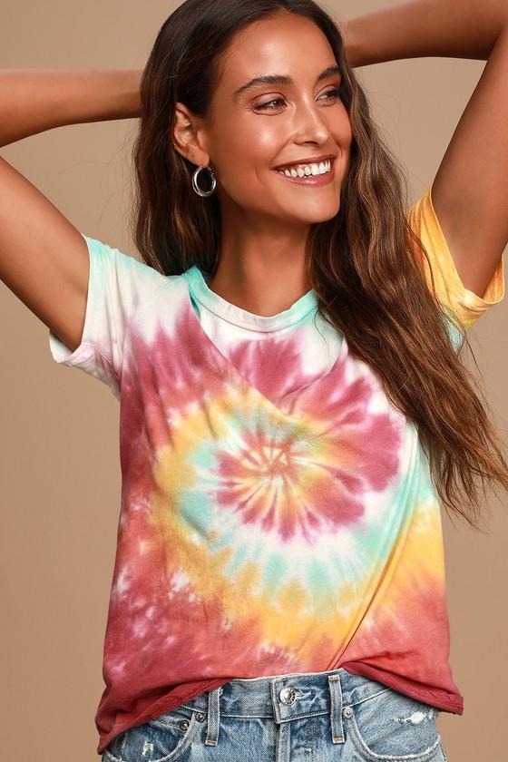 Women's 70s Shirts, Blouses, Hippie Tops Floyd Blue Multi Tie-Dye Short Sleeve Tee - Lulus $52.00 AT vintagedancer.com
