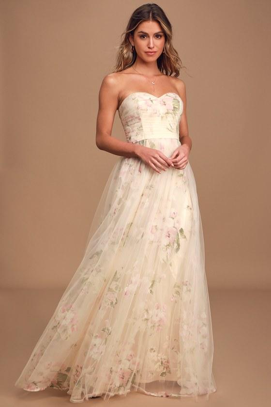 Refinement Beige Floral Print Ruched Strapless Maxi Dress