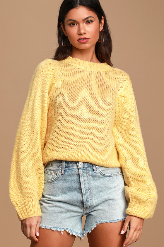 Presley Yellow Knit Balloon Sleeve Sweater