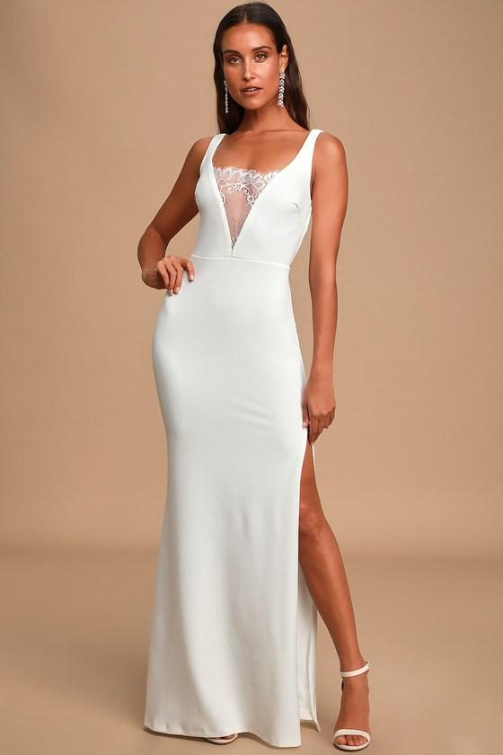 Special Day White Lace Sleeveless Mermaid Maxi Dress