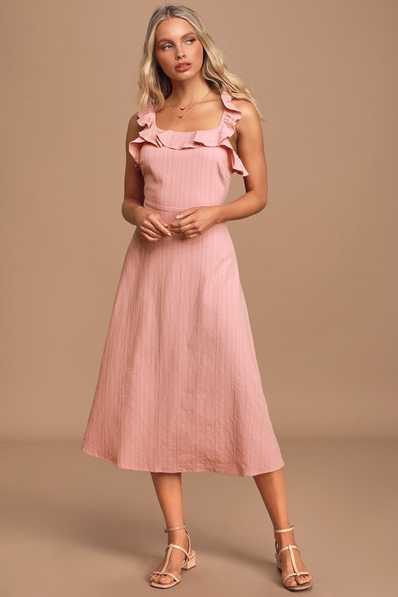 Tied to Your Love Dusty Pink Tie-Back Ruffled Midi Dress