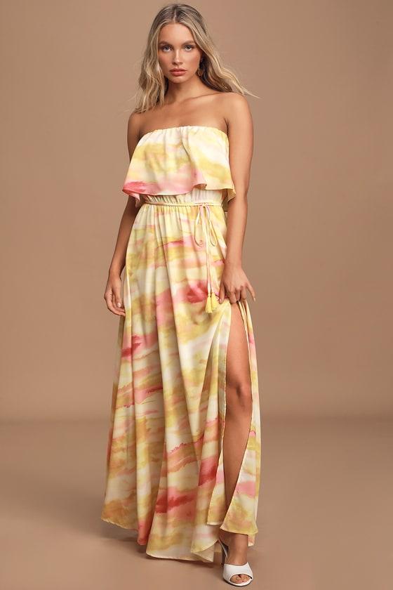 70s Dresses – Disco Dress, Hippie Dress, Wrap Dress Full of Sunshine Yellow Tie-Dye Strapless Maxi Dress - Lulus $69.00 AT vintagedancer.com