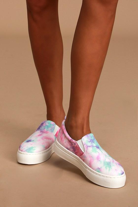 Pink Tie-Dye Sneakers - Slip-On