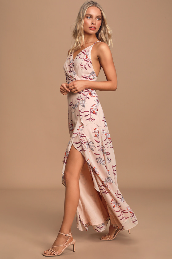 Bloom to Grow Dusty Pink Floral Print Backless Maxi Dress