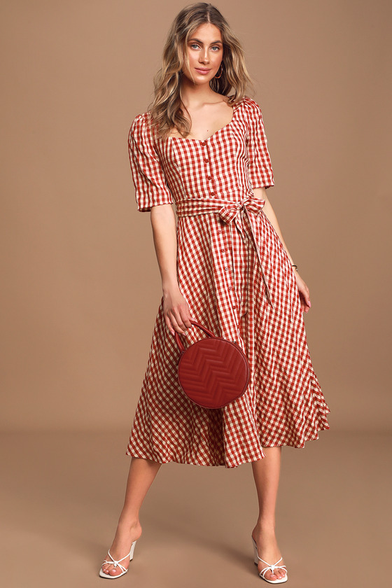 70s Dresses – Disco Dress, Hippie Dress, Wrap Dress Sweet Little Thing Red Gingham Button-Up Midi Dress  Lulus $65.00 AT vintagedancer.com