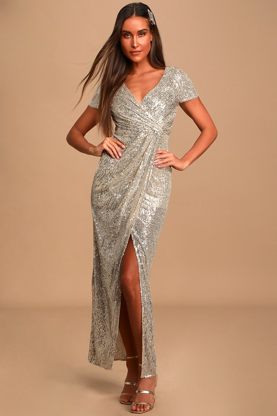 Old Hollywood Glamour Dresses Shea Champagne Sequin Short Sleeve Faux-Wrap Maxi Dress  Lulus $200.00 AT vintagedancer.com