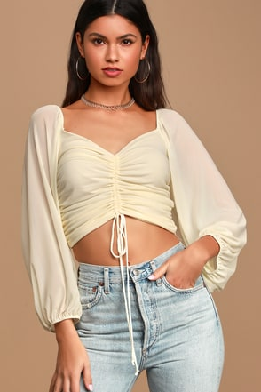 Full Metallic Cropped Long Sleeve Top with Ruched Hem and Cuff Matte Black S M L