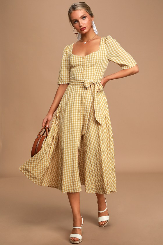 1950s Dresses, 50s Dresses | 1950s Style Dresses Sweet Little Thing Mustard Yellow Gingham Button-Up Midi Dress - Lulus $65.00 AT vintagedancer.com