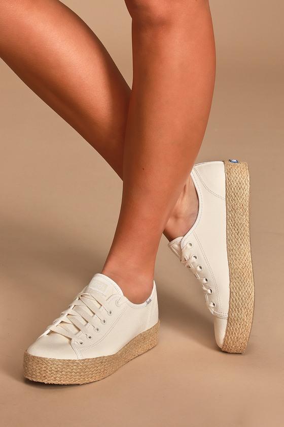 Keds Triple Kick - White Jute Sneakers
