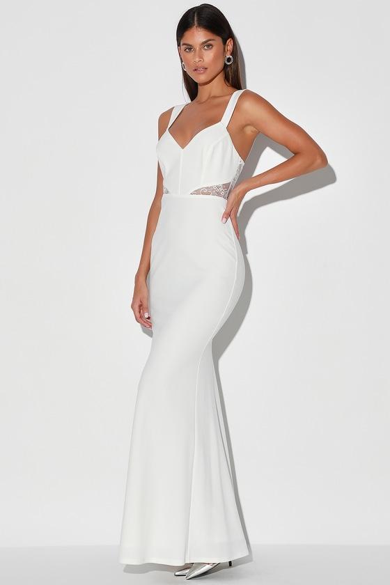 Lace Me See White Lace Cutout Mermaid Maxi Dress