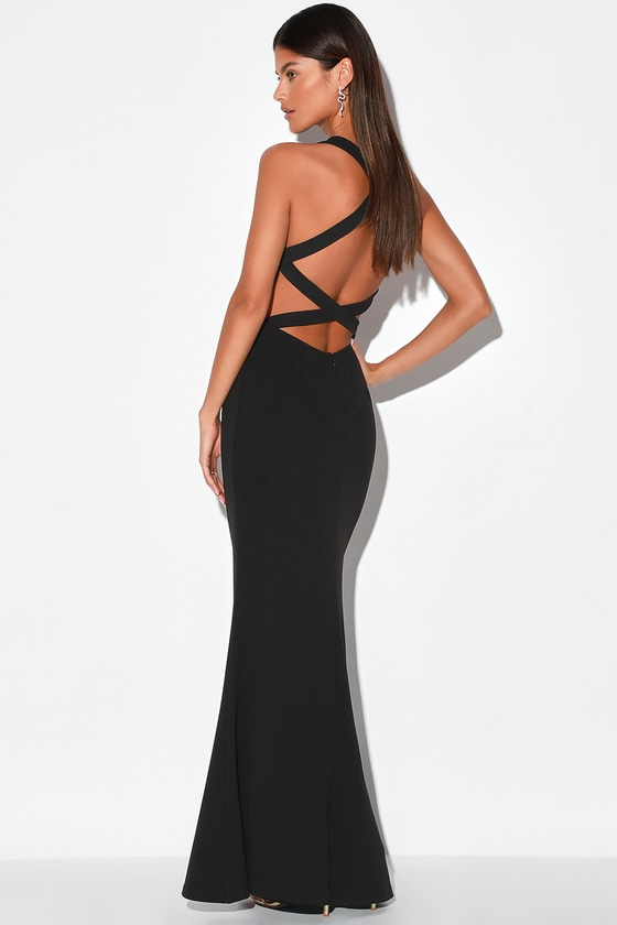Straight To The Heart Black Backless Maxi Dress