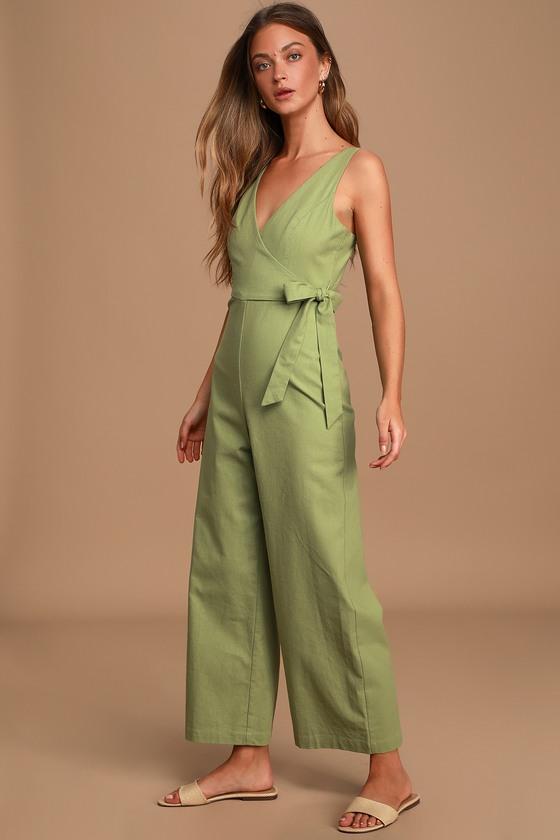 1930s Wide Leg Pants and Beach Pajamas Its a Wrap Sage Green Sleeveless Wide-Leg Jumpsuit - Lulus $69.00 AT vintagedancer.com