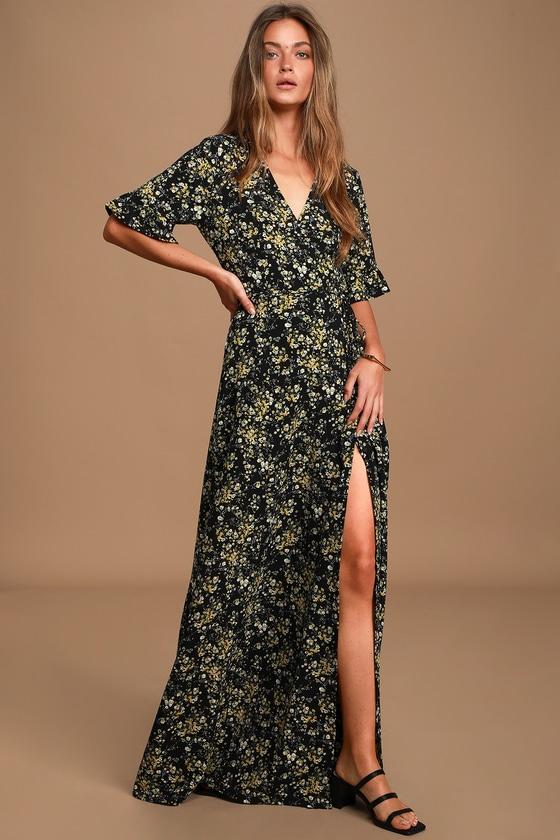 Lulus | September Sunsets Black Floral Print Wrap Maxi Dress | Size Medium