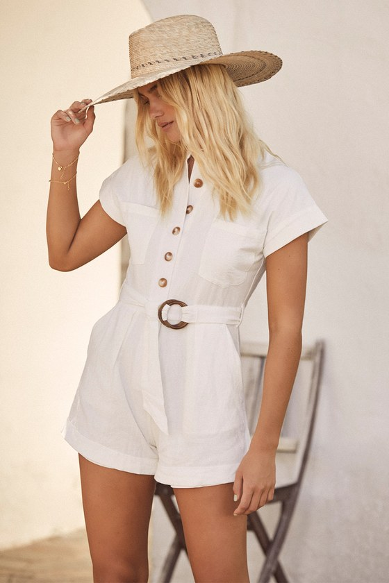 70s Jumpsuit | Disco Jumpsuits, Sequin Rompers Tailored White Belted Button Front Romper - Lulus $46.99 AT vintagedancer.com