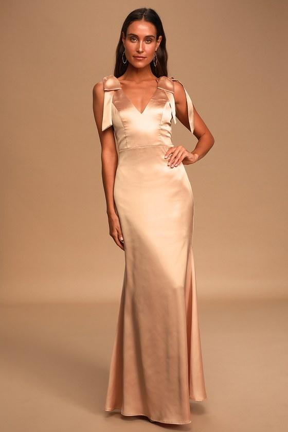 Shining Glory Champagne Satin Tie-Strap Maxi Dress