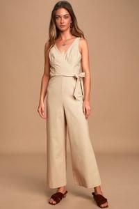 Deals on Lulus Womens Its a Wrap Sleeveless Wide-Leg Jumpsuit