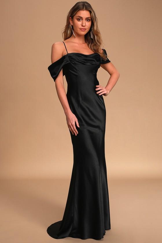 I'm On the List Black Off-the-Shoulder Mermaid Maxi Dress