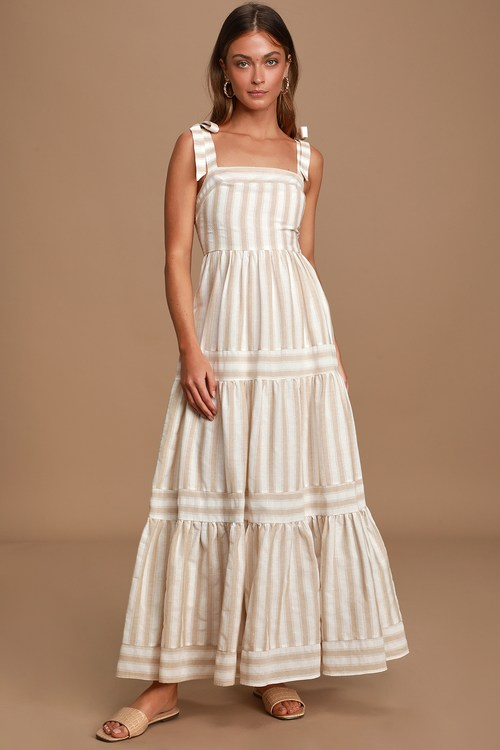 Golden Days Beige Striped Tie-Strap Maxi Dress