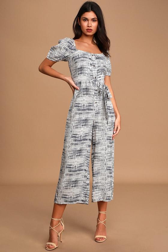 Summer Stroll Blue Tie-Dye Off-the-Shoulder Culotte Jumpsuit