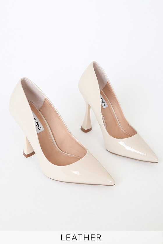 Steve Madden Validate Bone White Patent Leather Pointed-Toe Pumps