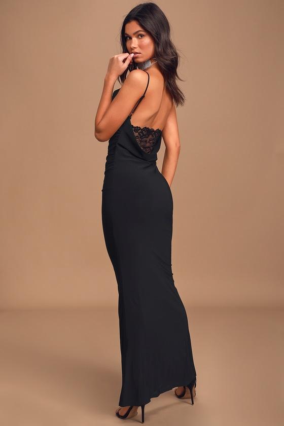 At a Glance Black Cowl Neck Mermaid Maxi Dress