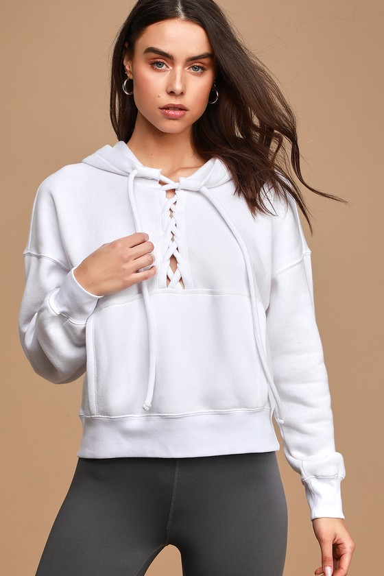 Free People Movement Believe It White Lace-Up Hooded Sweatshirt