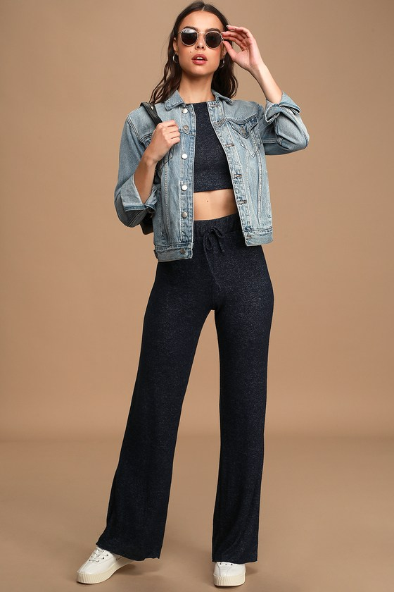 Be Cozy Heather Navy Blue Drawstring Lounge Pants