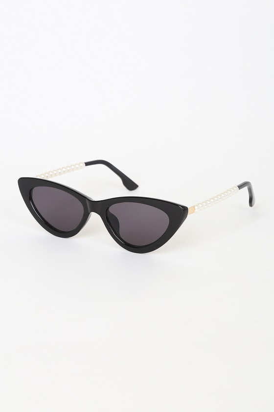 Pep Talk Black Mini Cat-Eye Pearl Sunglasses