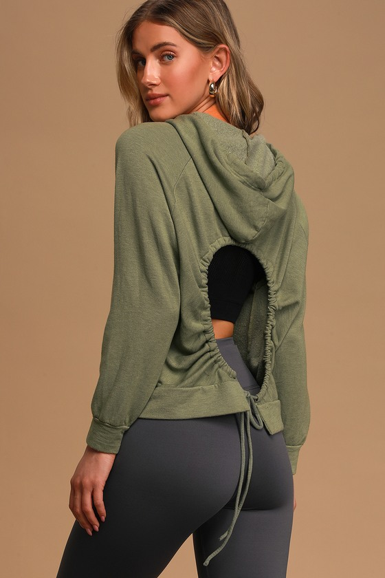 Year Round Olive Green Back Cutout Drawstring Hoodie