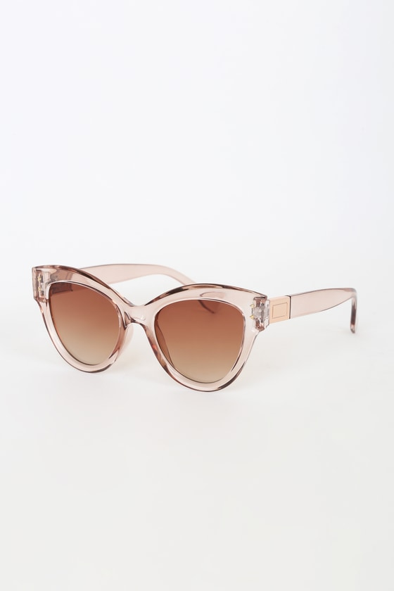 Bright Future Clear Brown Oversized Sunglasses