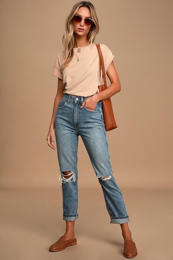 Pistola Eden Medium-Wash High Rise Distressed Cropped Jeans
