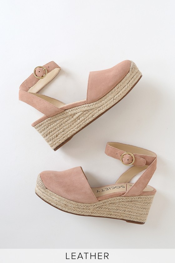 Sole Society Channing Washed Pink Suede Leather Espadrille Wedges